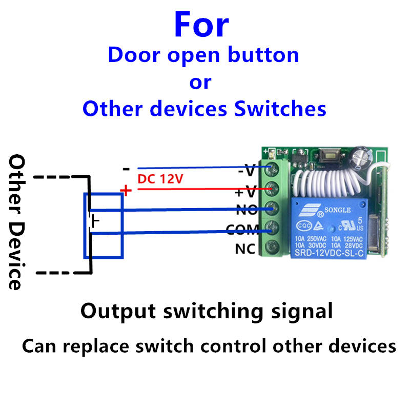 433mhz Universal Wireless Remote Control Switch Dc 12v 10a 1ch Relay Receiver Module And Rf Transmitter 433 Mhz Controlsin Controls From: Remote Control 12v Dc Switch Wiring Diagram At Eklablog.co