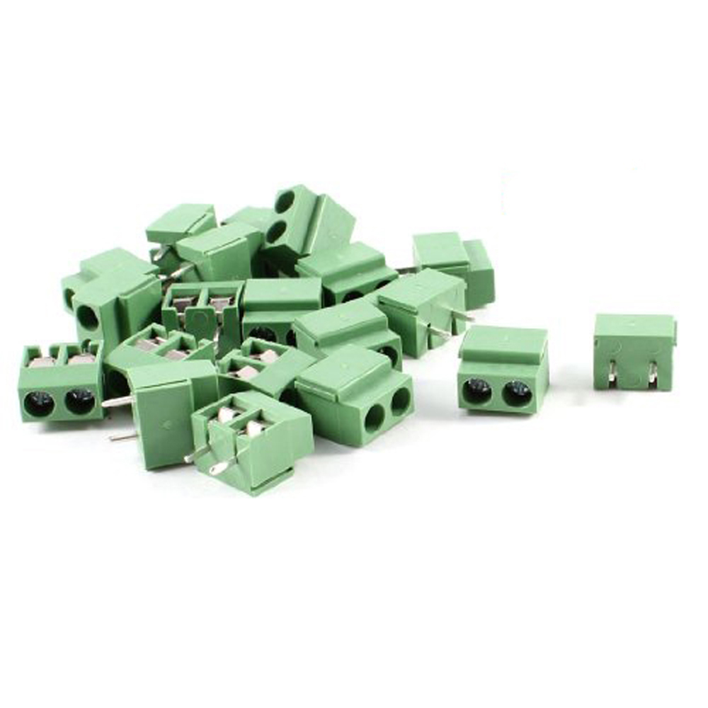 t-best in aliexpress promotion 20pcs 2 pole 5mm pitch pcb mount screw terminal block 8a 250v