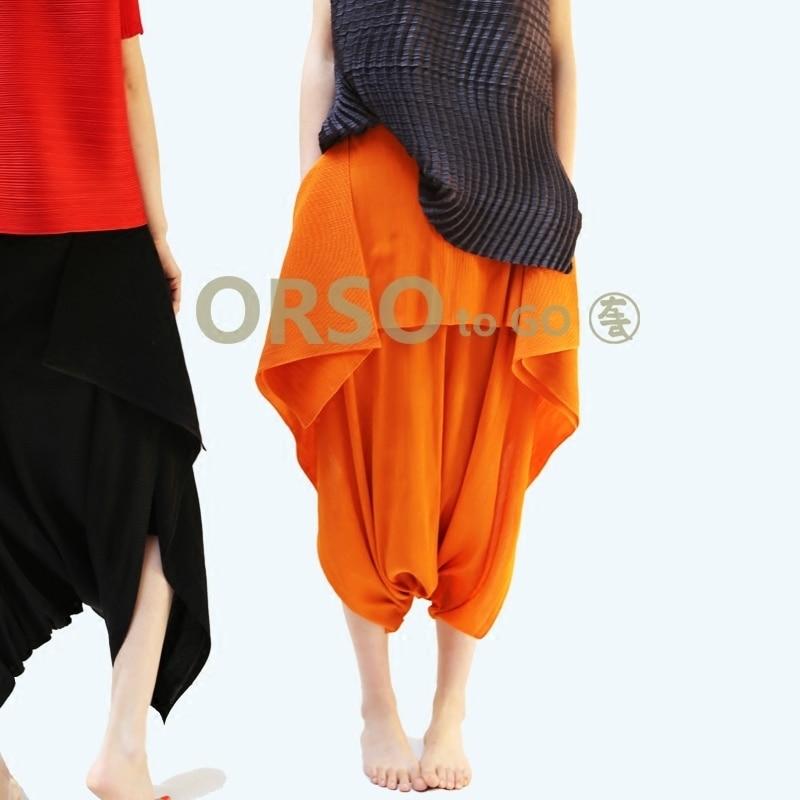 Azterumi special pleats 여름 2019 여성 가짜 두 조각 pleated pants ladies 하이 웨이스트 캐주얼 루즈 와이드 레그 팬츠 블랙-에서팬티 & 카프리스부터 여성 의류 의  그룹 1