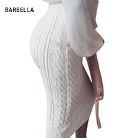 BARBELLA Women Winter Sexy High Waist Package Hip Black Knitted Crochet Pencil Skirts Slim Knit Long Skirt Midi Skirt 45