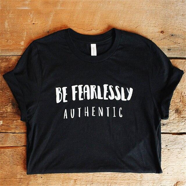 b1824948eb Enjoythespirit Be Fearlessly Authentic T Shirt Positive Sayings Womens  Tshirt Positive Vibes Inspirational Tshirt Regular Fit