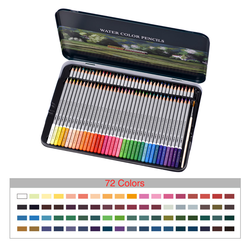 KNOW Water Color Pencil Set 36 48 72 Colors Tin box Water Soluble Colored Pencil For Gifts Drawing Sketch Art School Supplies cute lovely color pencil drawing tutorial art book