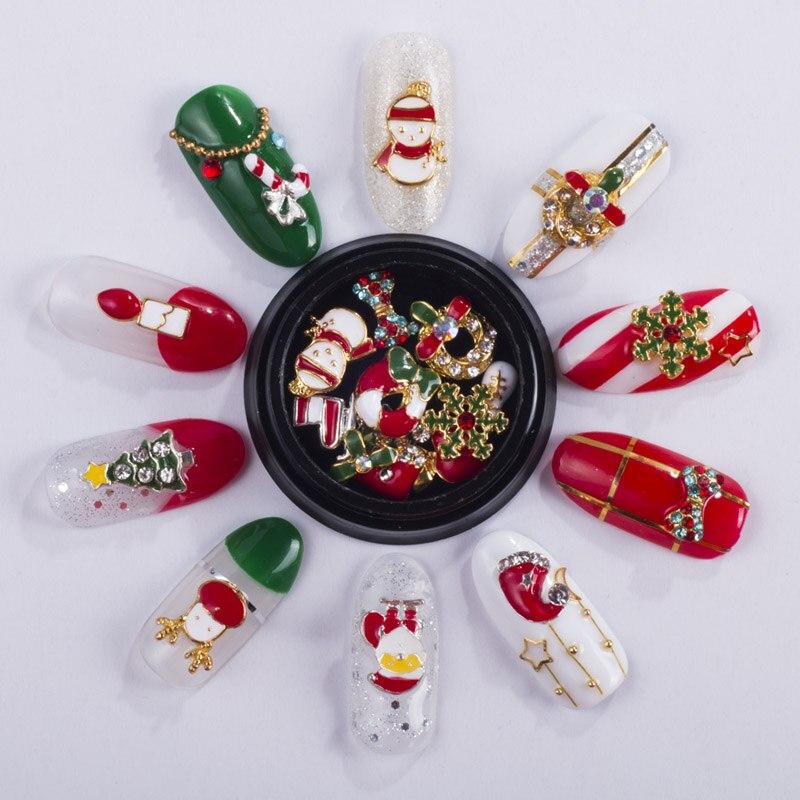 NEWBY-10-Designs-box-Alloy-Metal-Christmas-Snowman-Nail-Art-Decorations-Charms-DIY-3D-Nail-Rhinestones (3)