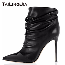 Fold Black Women Ankle Boots Lazy Woman Spring Boots Patent Leather Pointed Toe Lace Up Ladies Boots Plus Size Free Shipping Hot drop shipping luxury brand women black burgundy lace up front zipper sides soul rockstud glossed leather knee boots size 35 42