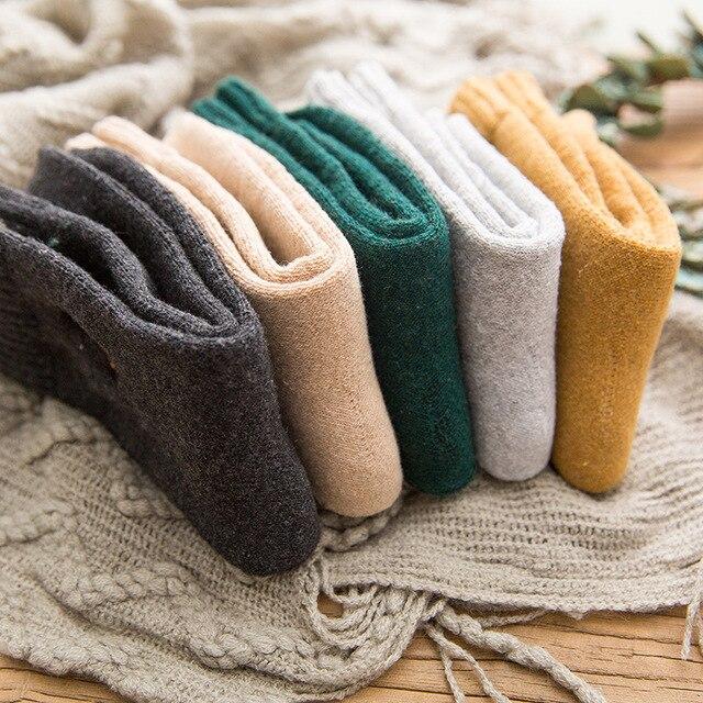 Japan Harajuku Fashion Character Crew Socks Cotton Winter Warm Terry Street Style Fluffy Wool Thermal Sock Women Christmas Gift 4