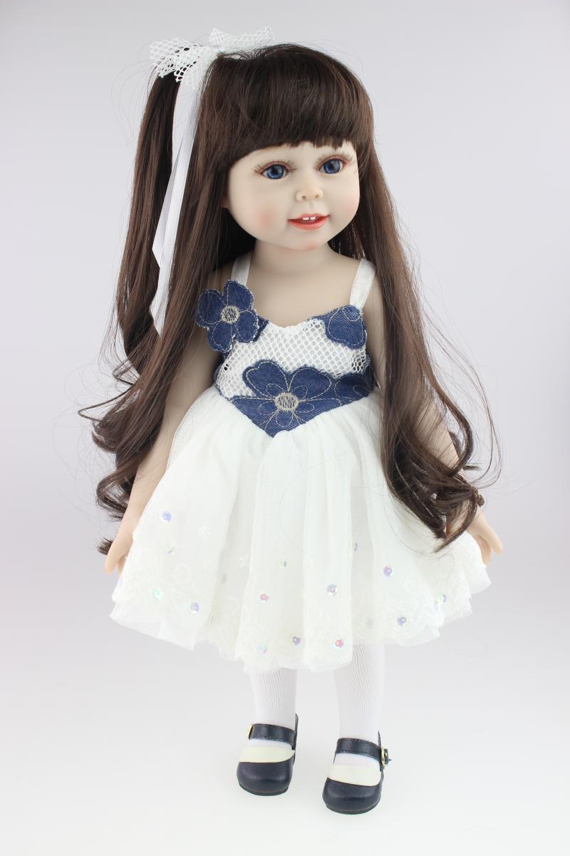 Vinyl Princess 45cm Dolls for Girls 18 Inch Cute Realistic Baby Birthday Gift Handmade Dress Hat American Girl Doll Boneca [mmmaww] christmas costume clothes for 18 45cm american girl doll santa sets with hat for alexander doll baby girl gift toy