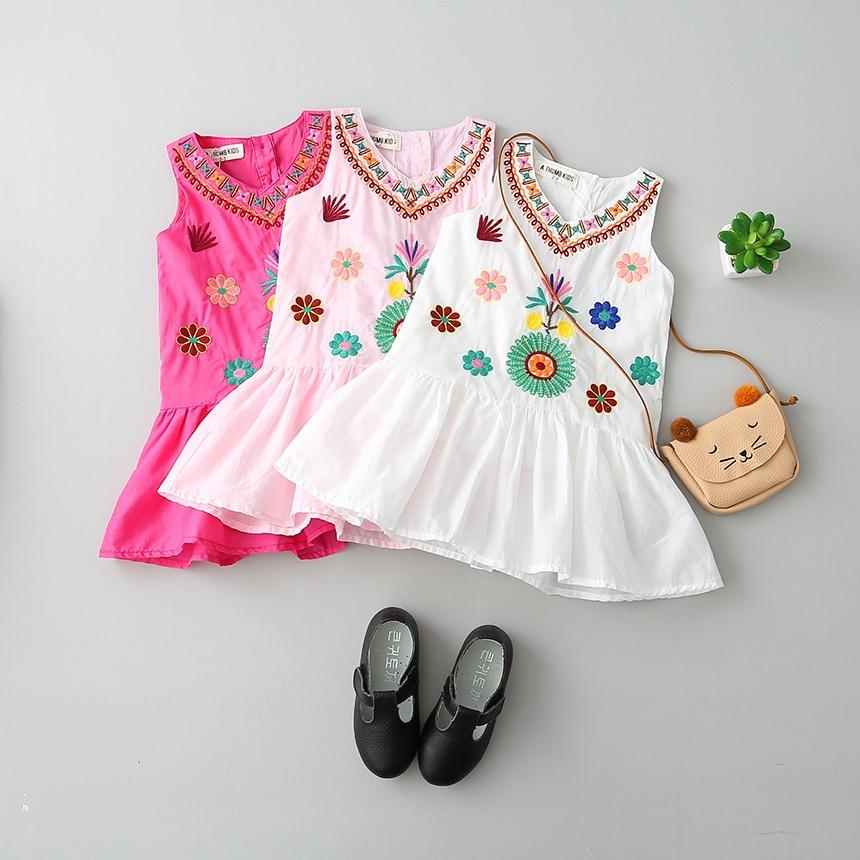 6526b846f Baby Girls Suspenders Flower Embroidery Vest Dress 2017 Summer Dress ...