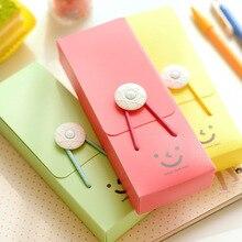 Высококачественный креативный чехол-карандаш карамельного цвета с изображением улыбающейся башни, с пряжкой, с веревкой, канцелярские принадлежности, ПВХ коробка для девочек, карандаш, канцелярские принадлежности, Студенческая сумка