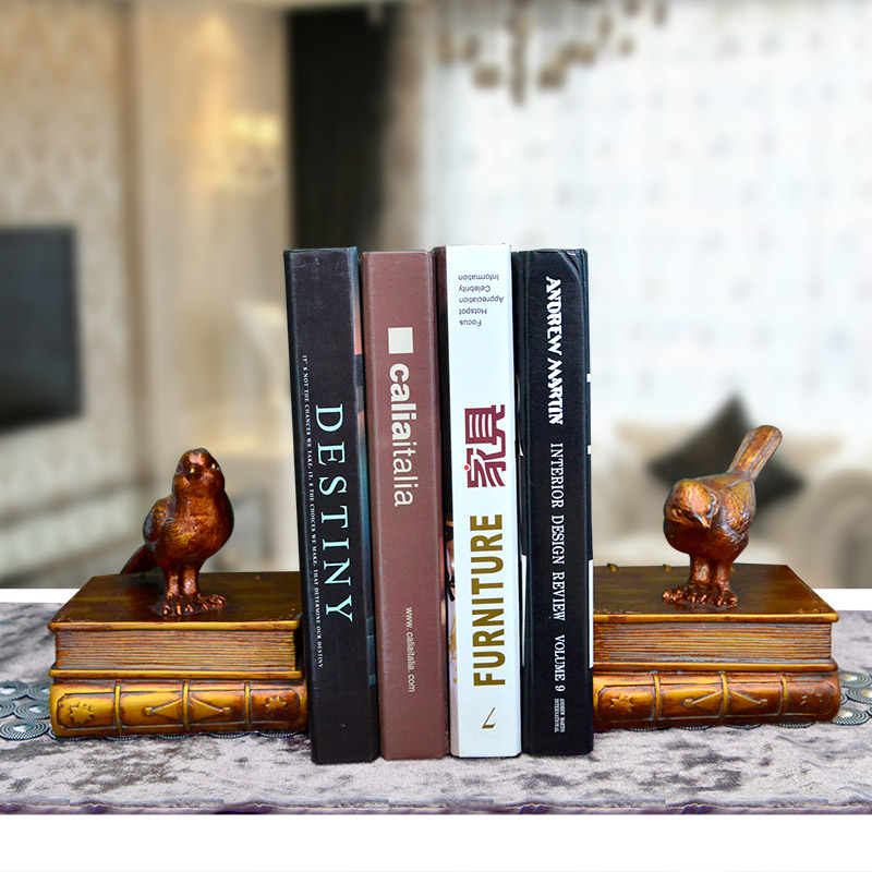 A Pair Creative Synthetic Resin Bookend Shelf Birds Bookend Holder Office Supplies Home Decoration Book Stand