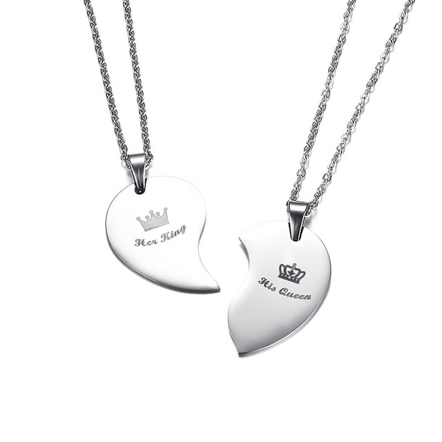 Vnox His Queen Her King Crown Couple Necklace For Women Men Pendant Heart Stainless Steel Lover Wedding Jewelry Gift for Him Her