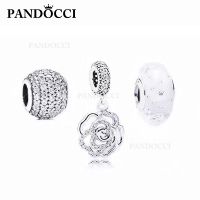 PANDOCCI 100% 925 Sterling Silver Rose Pendant Pave Charm Bubble Glass Beads Gift Set Retro Jewelry Brand Factory Direct