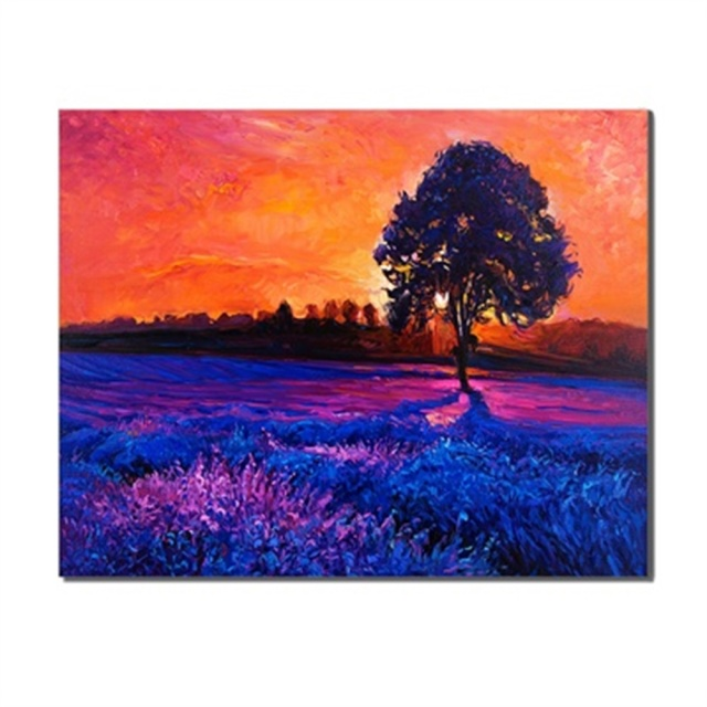 Frameless Nightfall Sunset Tree Creative Artwork Scene Canvas Print Oil Painting Posters Living Room Unique Gifts For Home Decor