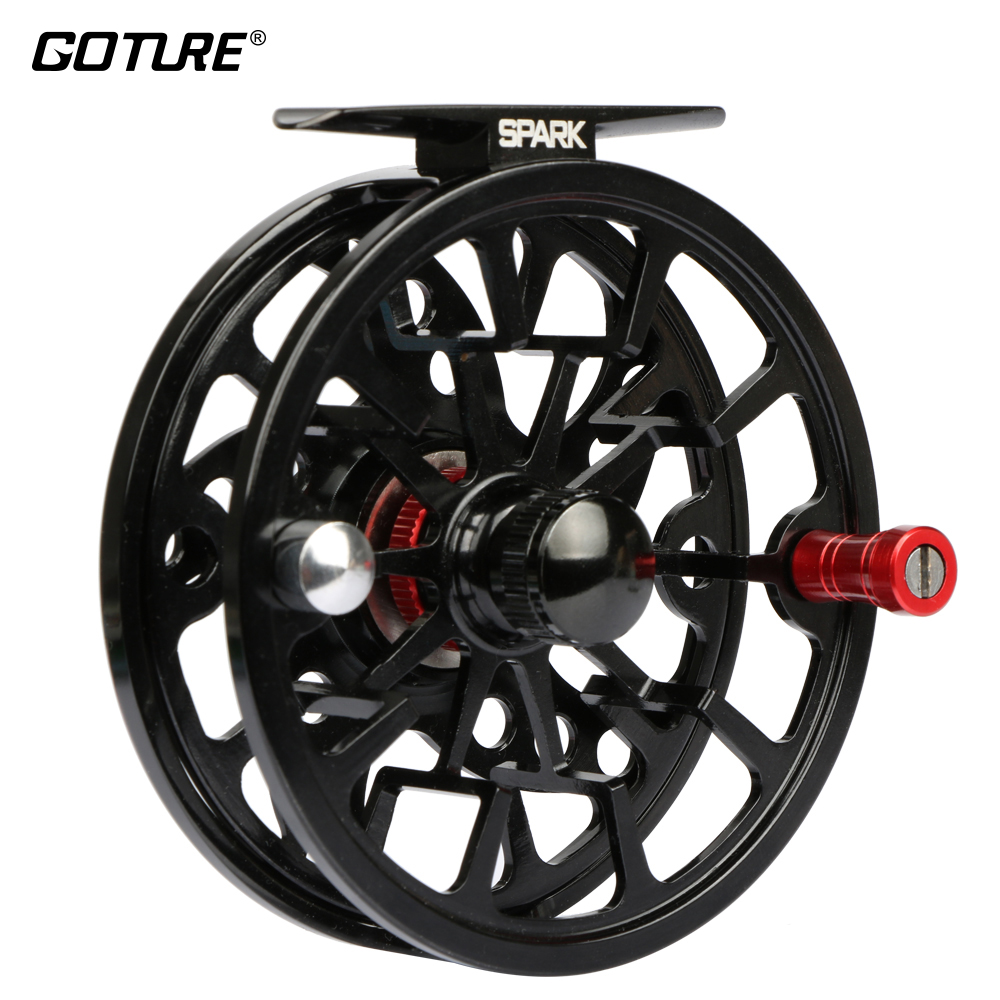 купить Goture Spark CNC Machine Cut Aluminum Alloy Full Metal Fly Fishing Reel 5/6 7/8 3BB Large Arbor Black Color Fishing Reel недорого