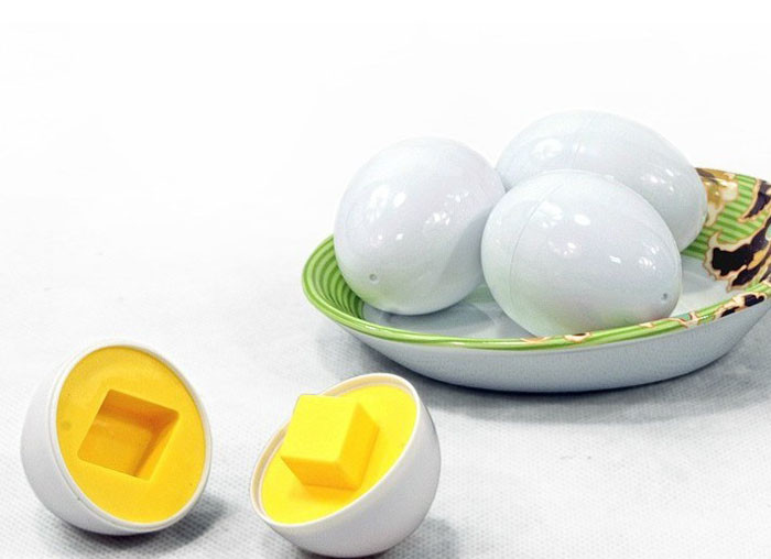 6pcs/set  Mixed Shape Wise Pretend Puzzle Smart Eggs Baby Kid Learning Toy Green Non-toxic Health Montessori Toys   7.8