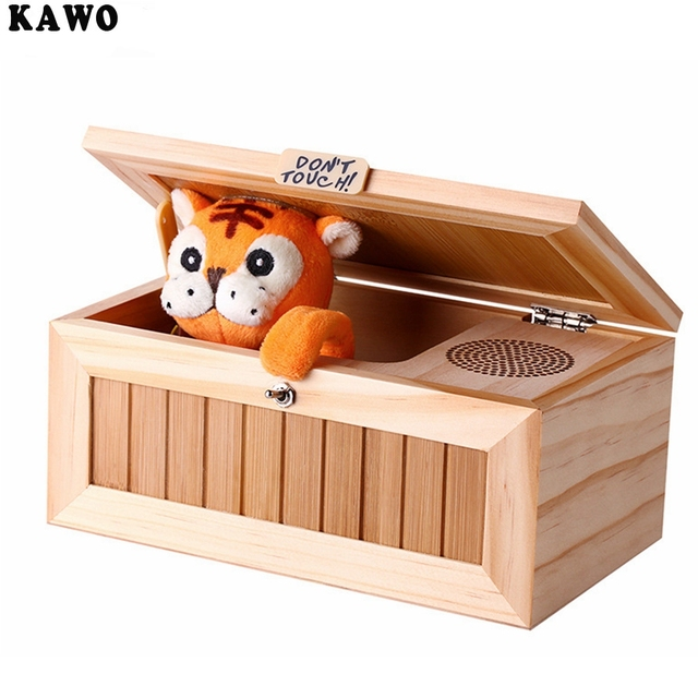 KAWO Funny Toy Upgrade Wooden Electronic Useless Box with Sound Cute Tiger 20 Modes Gift Stress-Reduction Desk Decoration