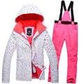 O Envio gratuito de 2016 White dot Jaqueta de Roupas de Inverno das Mulheres Jaqueta de Esqui + Calça De Esqui Terno Meninas Ternos Snowboard