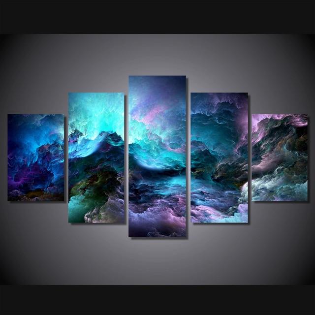 5 Stücke Leinwand Abstrakte bunte wolken Drachen malerei Wandkunst ...