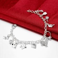 Pretty Bracelets 925 Sterling Silver AAA Zircon Crystal Bracelets 12 Pendants Charms Bangles For Woman New Fashion Jewelry