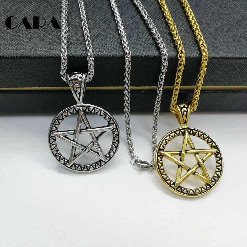 ... CARA New 316L stainless steel vintage color 5 pointed star circle pendant  necklace fashion men stylish 8ac99df5fe11