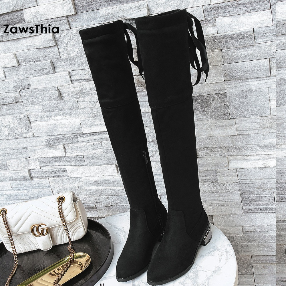 ZawsThia pointed toe solid black color faux suede long boots with ribbon square heel winter shoes over the knee thigh high boots women faux suede side zipper sexy thin high heel thigh boots fashion pointed toe winter shoes black g