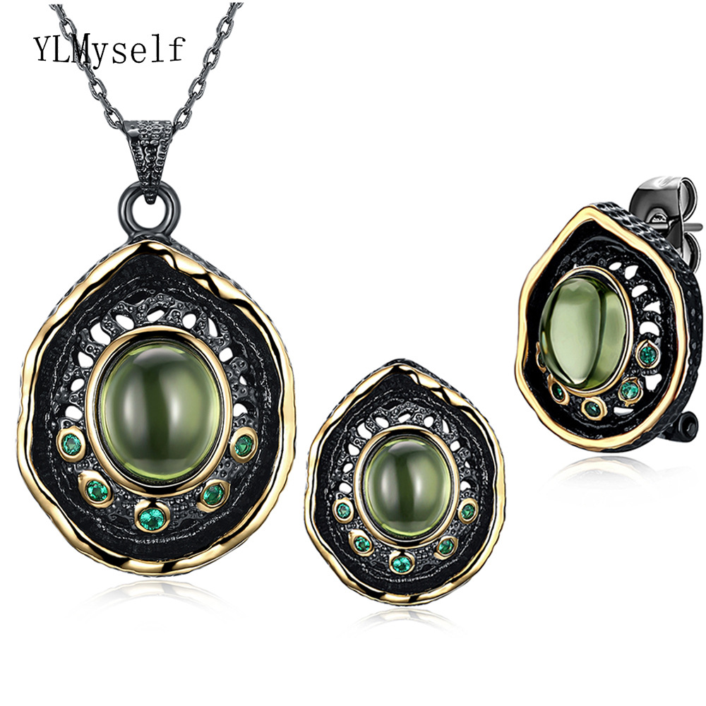 Green pretty Neaklace/Earrings 2pc set water drop jewelry black gold plate color crystal cocktail party jewellery for women