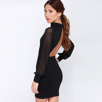 New Brand Party Clothes Vestido Female Fashion Women Sexy Black White Long Sleeve Contrast Mesh Yoke