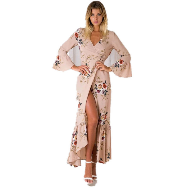 Boho chic Summer style high split women dress 2017 bohemia beach dress full sleeve v-Neck print loose maxi long beach wear dress