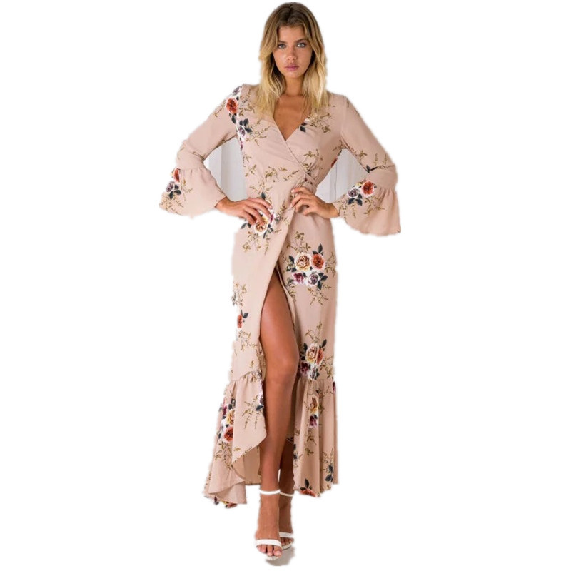 Buy Cheap Boho chic Summer style high split women dress 2017 bohemia beach dress full sleeve v-Neck print loose maxi long beach wear dress