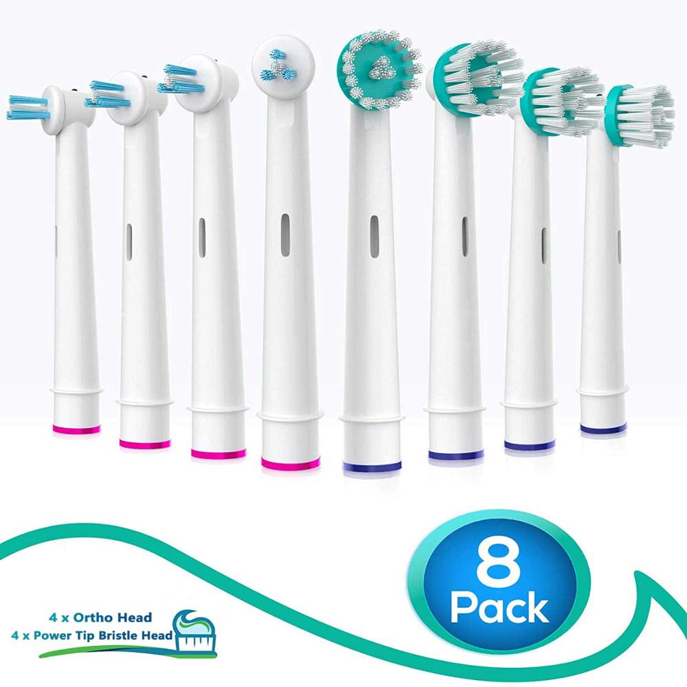 Oral B Replacement Brush Heads For Braun Oral-B Professional Ortho Brush Heads Compatible Orthodontic Electric Toothbrush Heads image