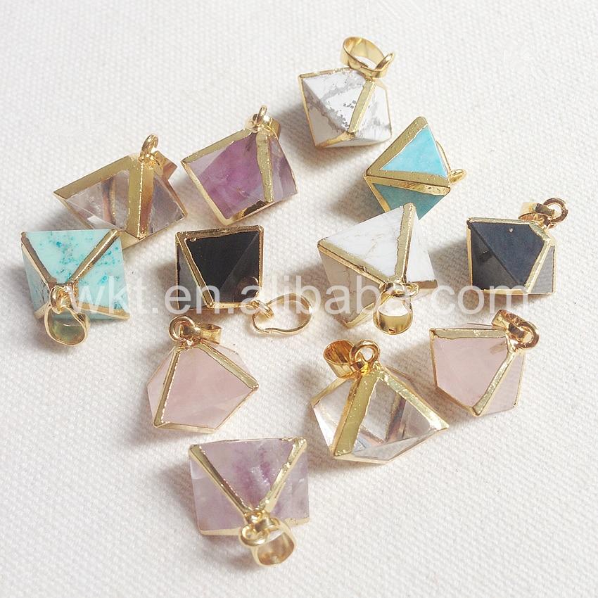 WT P784 Natural white blue howlite stone purple crystal stone pendant Octagon shape various stone pendant