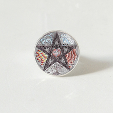 hot sale, flower figure five-pointed star pattern glass ring, fashion wear ring jewelry.