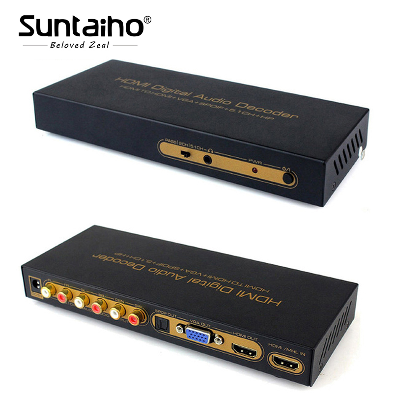 1080P HDMI TO HDMI VGA SPDIF 5.1CH RCA Digital multi-channel Audio Decoders HDMI Digital Audio Decoder ++spdif Converter