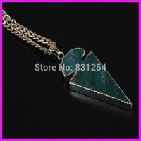 1pc Lot New Natural Green Agate Arrow Shape Charm Pendant 22K Gold Plated Edge Druzy Pendant