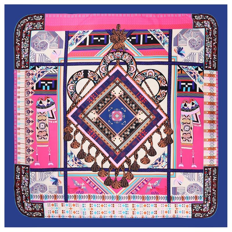POBING 100% Silk   Scarf   Women Square   Scarves     Wraps   Geometric Muslim Echarpes Female Foulard Stain Silk Hijab Bufandas 2018 New