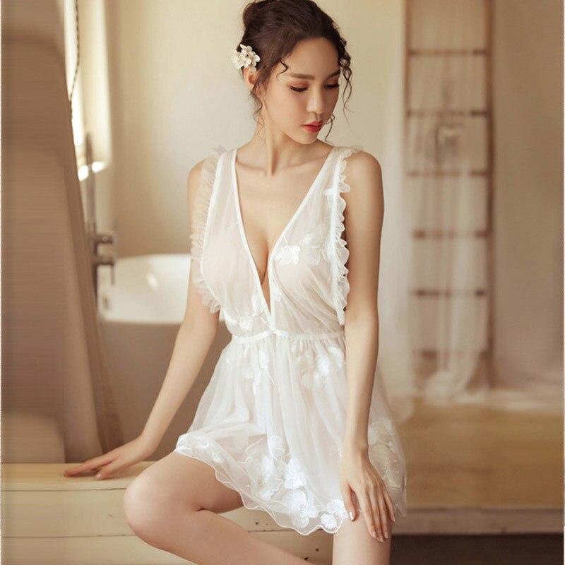 Sexy Sleeveless Lace Sleepwear Dress Spring Women Summer Hot See Through Sleepwear Summer Cool White Nightwear Deep V Neck