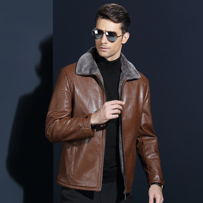 Winter 2018 New Mens Leather Fur Jacket Men Leather Suit Leisure Sheep Leather Coat Brand Men Leather Warm Clothing Black Brown