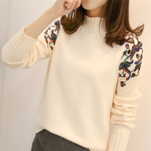 2019 female half turtleneck sweater female sleeve head embroidery twist loose all match long sleeved bottoming sweaters