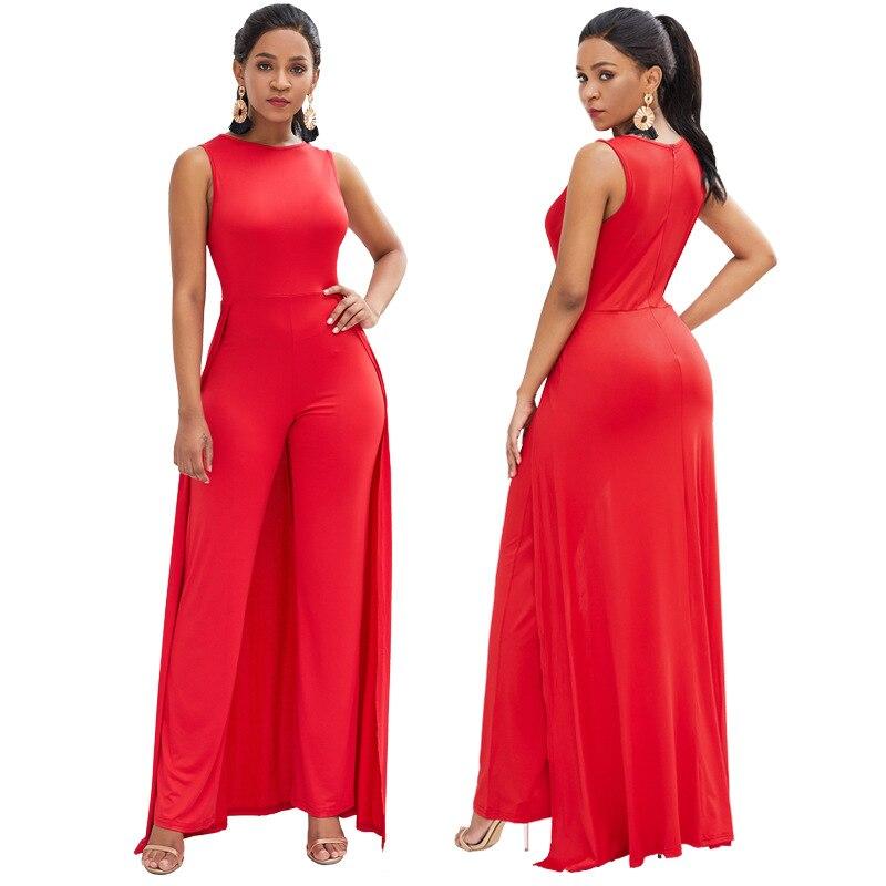 Liser Salopette Sexy Personnalité Pantalon Manches 2019 Survêtement Rouge Combinaison Rond Bodycon Mode Col Sans Ample qwWnHZrqA