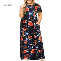 3XL 9XL Plus Size Dress Women Clothes Fashion Party Long Maxi Dresses Autumn Large Size Flower Print Pocket Loose Dress Vestidos