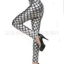 2017 The new spring/summer printed full color elastic thin shiny fashion mermaid nine points leggings