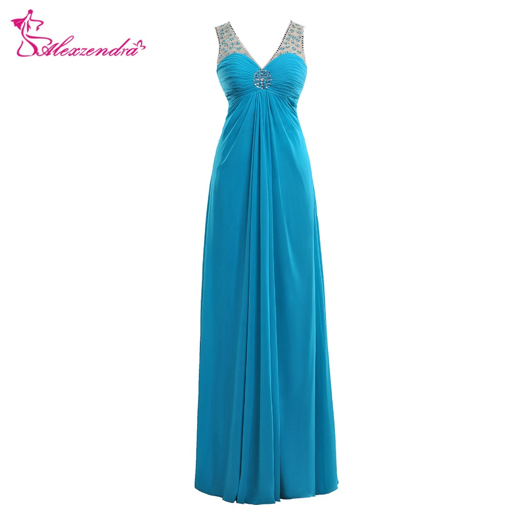 Alexzendra Blue A Line V Neck Long   Prom     Dresses   Crystals Illusion Back Evening Gowns Party   Dress