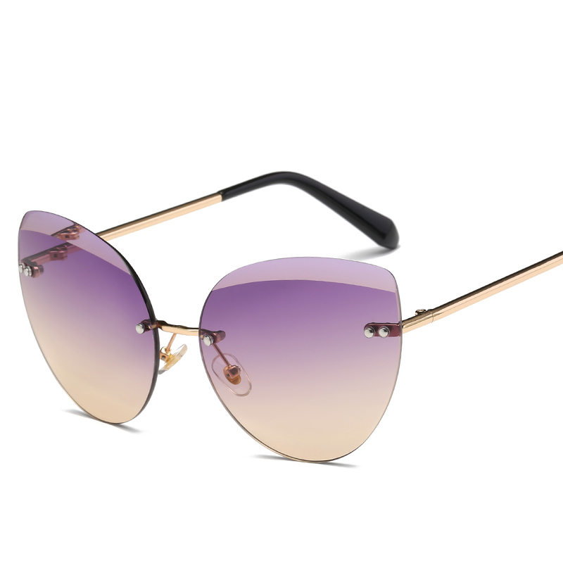 Fashion Cat Eye Retro Vintage Glasses Sunglasses Women Women's Brand 2019 High Quality Square Womens Sun Glasses Rimless Shades