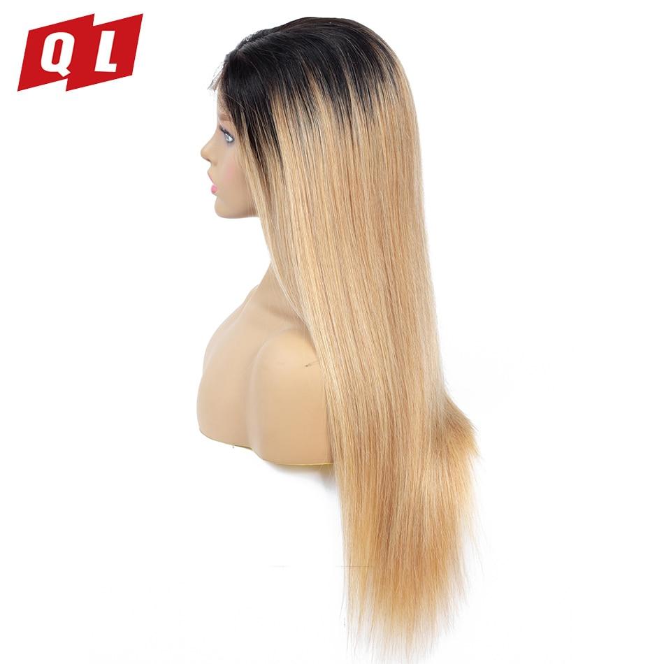 QLOVE HAIR 100 Human Hair Wigs Brazilian Straight Hair Lace Frontal Wigs 1B 27 Remy Hair