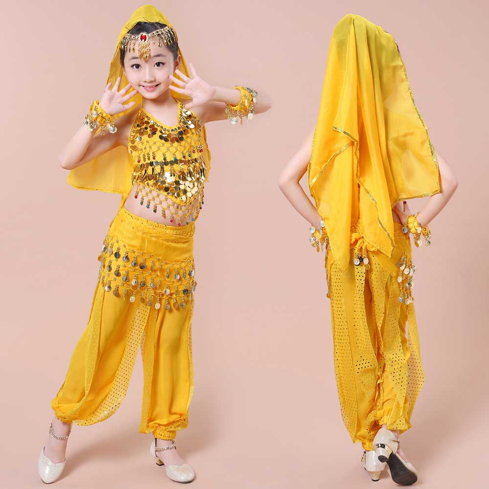 Child Girls Yellow Blue Pink Red Oriental Dancing Bellydance Wear - Stage and Dance Wear