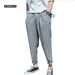 Japan style summer male casual pants fashion hiphop loose breathable grid harem pant code men ankle.jpg 250x250