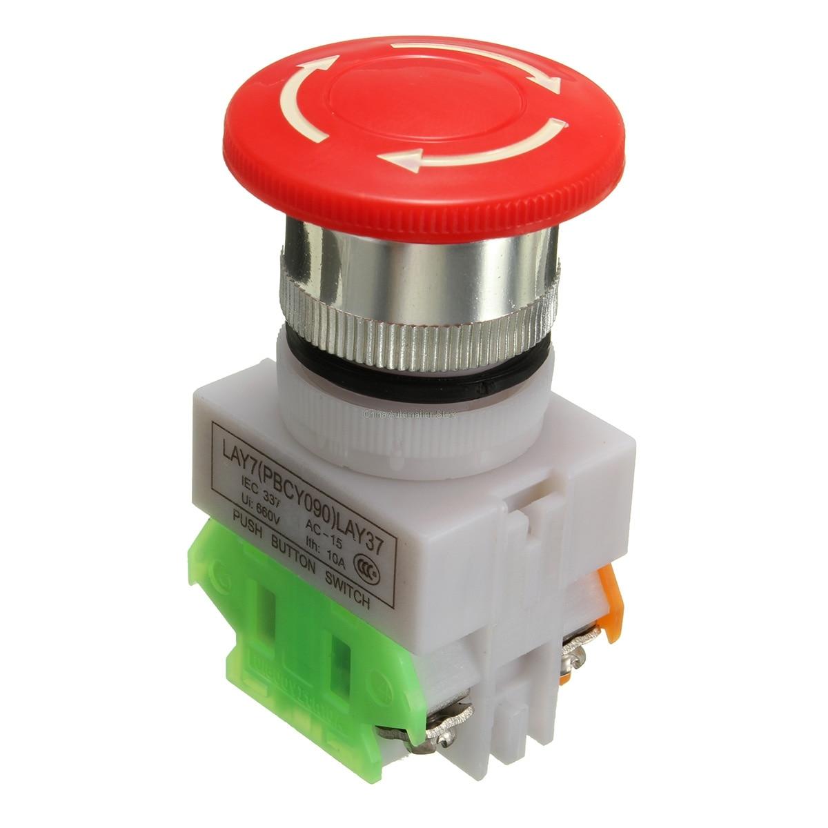 Roter Pilz Kappe 1NO 1NC DPST Notfall Stop Push Button schalter AC ...