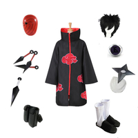 NARUTO Akatsuki Uchiha Obito Ninja Cosplay Red Cloud Cloak suit (Costume+Shoes+Mask+shuriken+Ring+Kunai+bag)