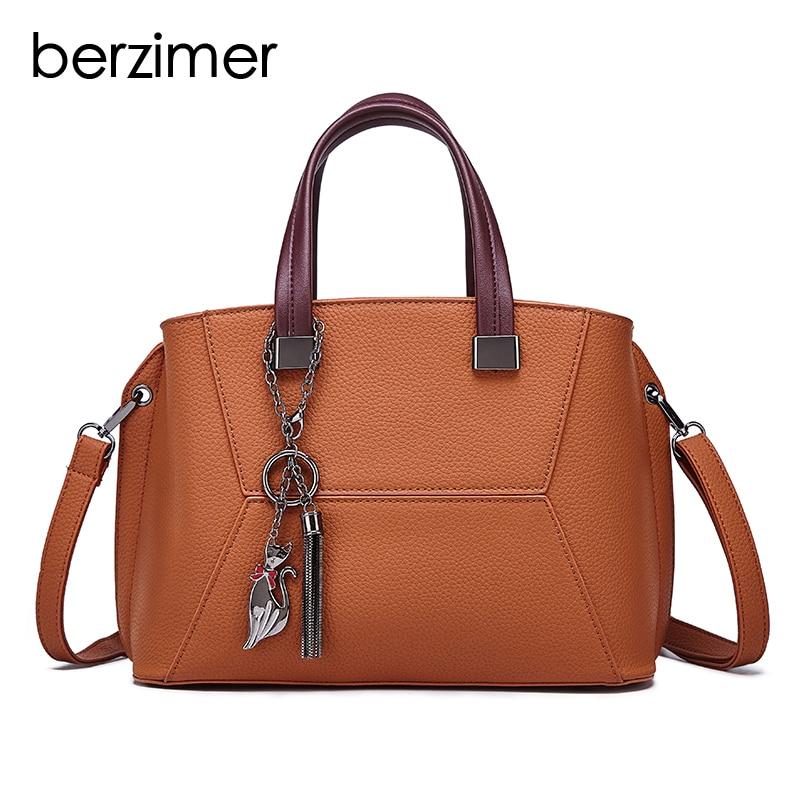 BERZIMER Super Stylish Women Shoulder Bags Totes Black Green Red Brown Fashion Handbag Large Capacity Bags for Women 2018 цена