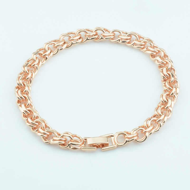 1 sztuk 8mm duży masywny mężczyzna kobiet 585 złoty kolor podwójne Rolo Curb splot bransoletki łańcuchy biżuteria 21cm 23cm długi