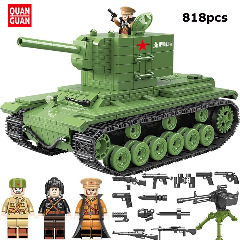 818 PCS WW2 Soviet Russia KV 2 Military Tank Soldier Weapon Model Building Blocks Bricks Toys Compatible Legoed Army City Toys